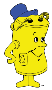 water heater man mascot